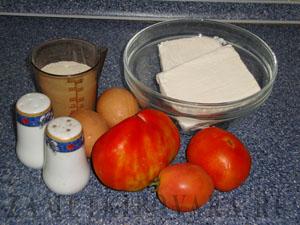 Творожная запеканка с помидорами и зеленью