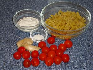 Паста с имбирем и помидорками черри