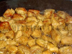 Запеченная тыква с курицей и ананасами