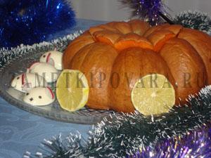 Запеченая тыква с курицей и ананасами