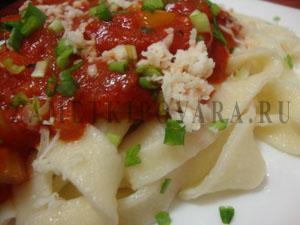 Феттуччине с овощным соусом