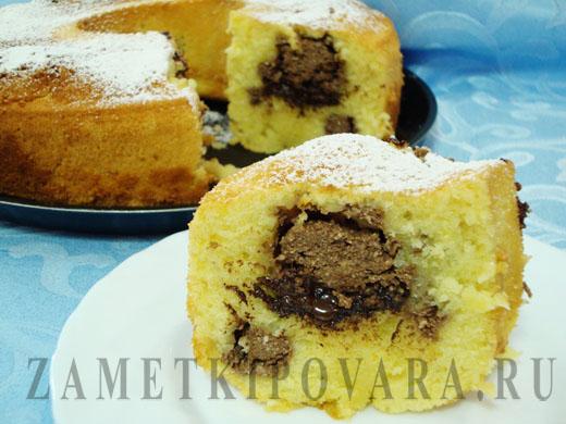 Апельсиновый кекс с творогом и шоколадом