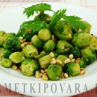 Салат с брюссельской капустой и кедровыми орешками