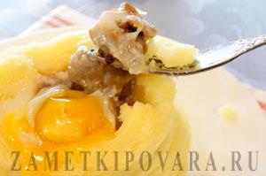 Картофельные гнезда с куриными желудками