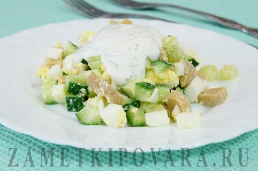 салат с опятами и свежим огурцом рецепт