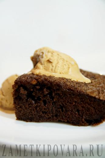 Шоколадный пудинг с мороженным