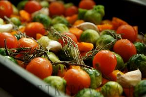 Брюссельская капуста с тыквой, запеченная в духовке
