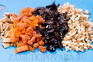 Конфеты из инжира, чернослива и кураги с орехами