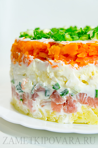 салат слоеный с горбушей рецепт