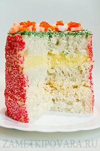 Закусочный торт с икрой