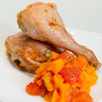 Запеченная курица с тыквой и грейпфрутом