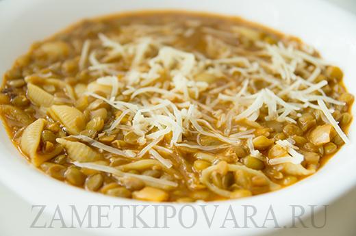 Итальянский чечевичный суп с макаронами
