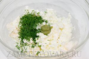 Тарталетки с творожным сыром и креветкой