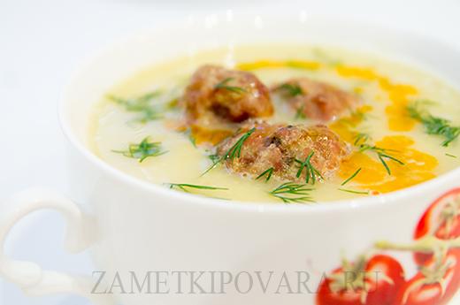 Суп-пюре из нута с мясными фрикадельками