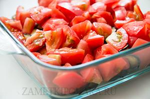 Крамбл с баклажанами и помидорами