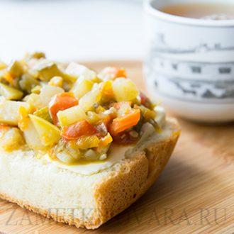 Закуска из кабачков, баклажанов, помидор и болгарского перца