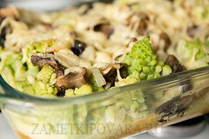 Капуста романеско, запеченная с грибами и сыром