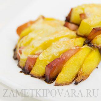 Картофельные ракушки с ветчиной
