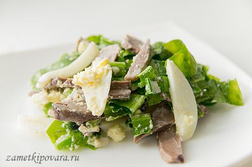 Салат с сердцем и черемшой
