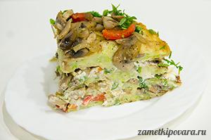 Торт из кабачков с грибами