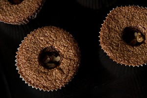 Шоколадные капкейки с шоколадно-кофейным ганашем