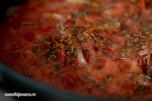 Сейтан с помидорами и болгарским перцем
